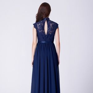 ever pretty Dresses - Long Evening Dress with Lace High Collar Neckline